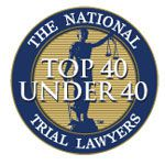 Logo Recognizing Gray and White Law's affiliation with National Trial Lawyers - Top 40 Under 40